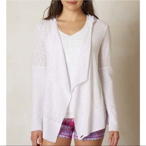 PrAna   White Hooded Wrap Sweater